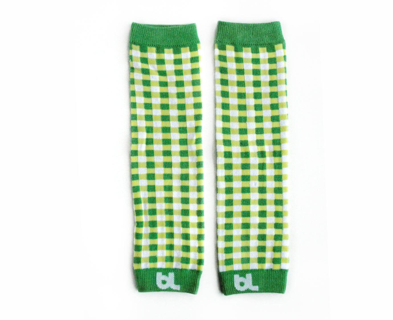 """Beenwarmers """"Green Gingham"""" kleur"""
