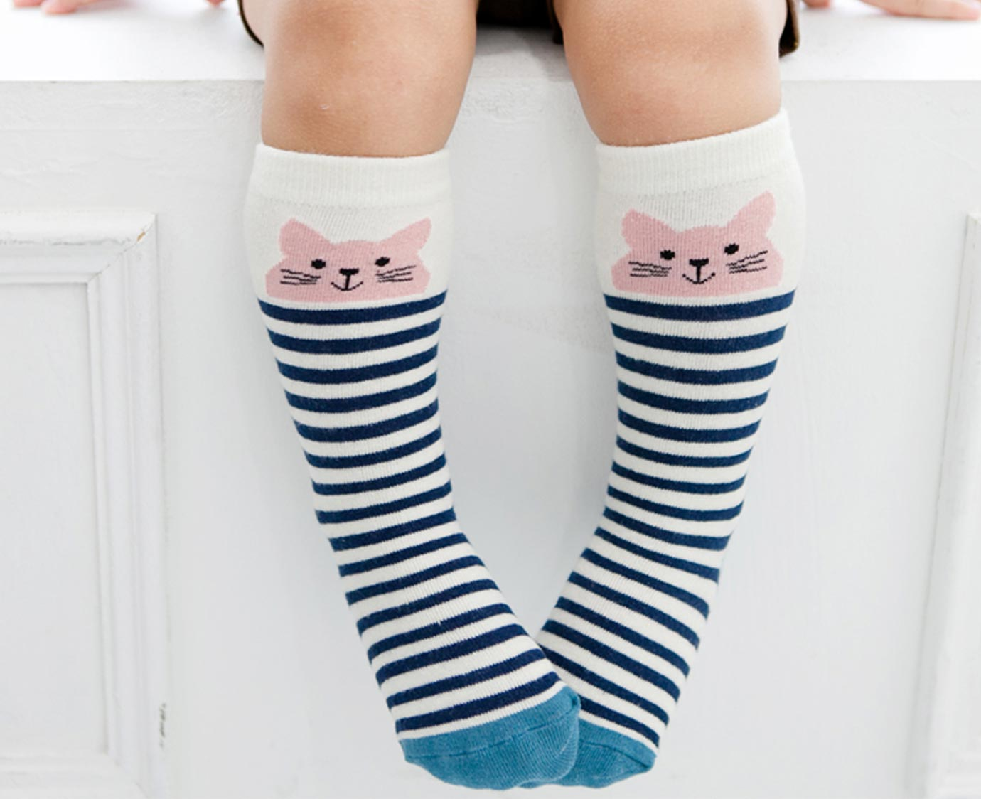 Kniekousen 'Cat Blue stripes' kleur