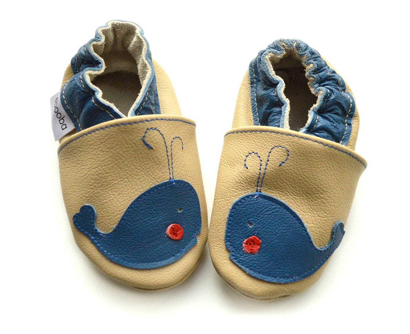 Leren babyslofjes 'Walvis' kleur