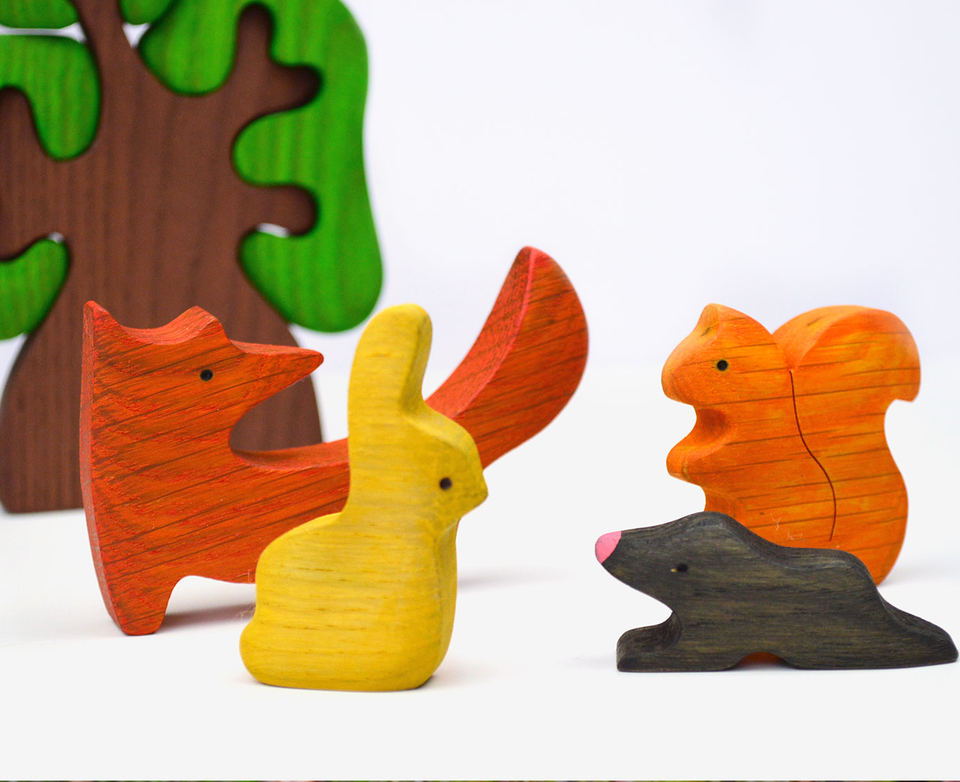 Houten set 'Bosdieren' kleur