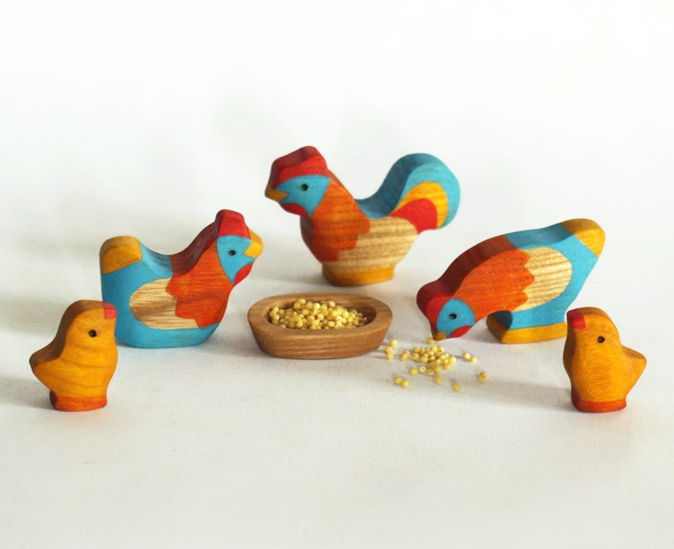 Set 'Haan en kippen' kleur