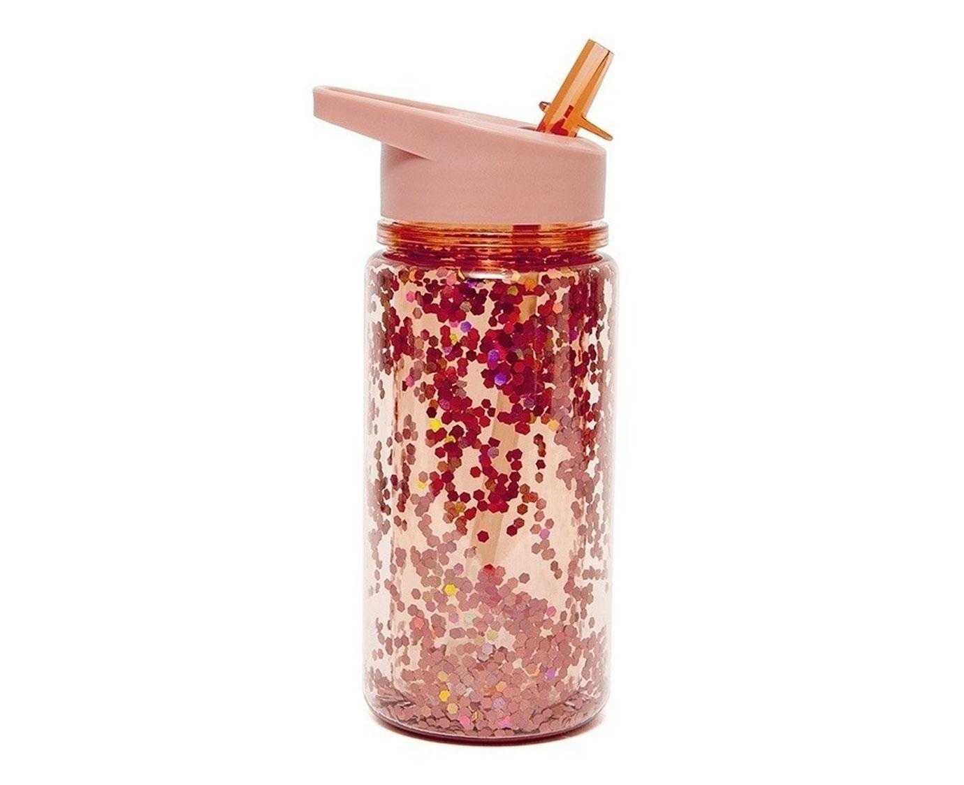 Drinkfles 'Glitter Peach Blossom' kleur