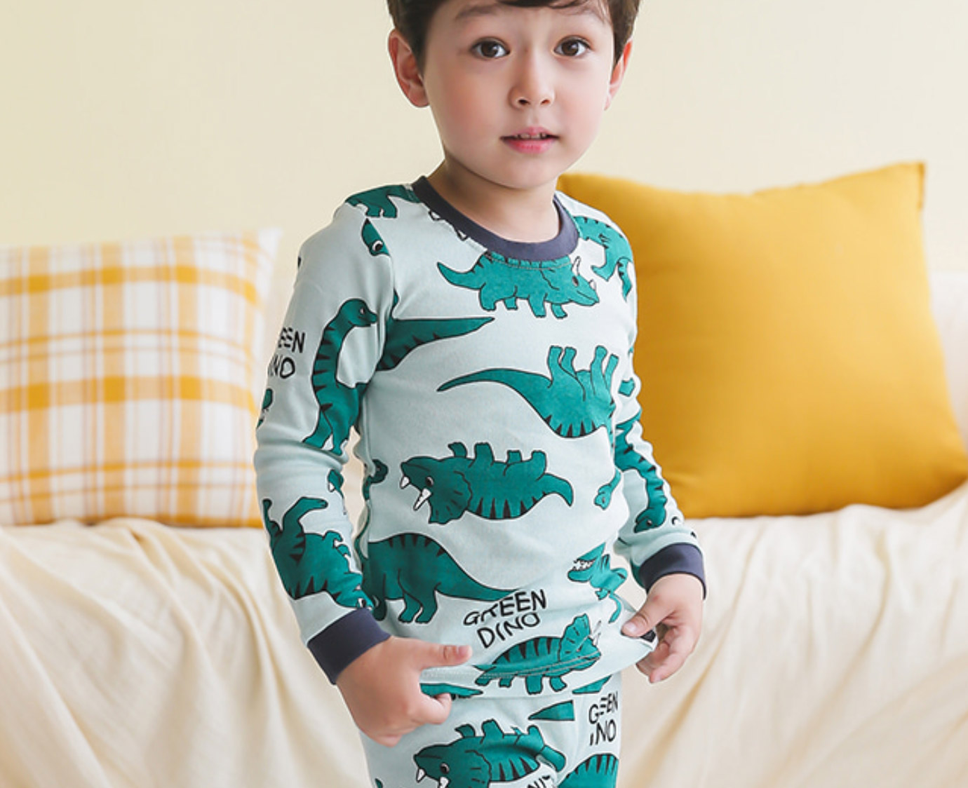 Organic Pyjama 'Dino World' Mt 86-92 kleur