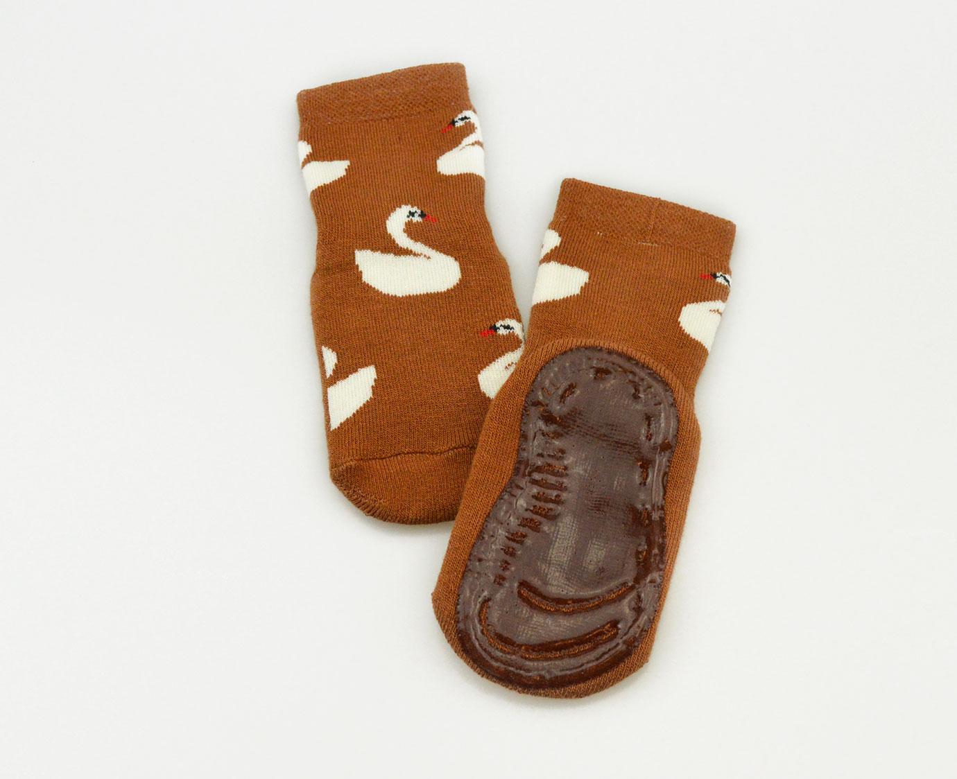 Anti-Slip sokken 'Zwaan' Toffee kleur